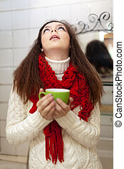 woman gargling throat in her bathroom - Illness woman...