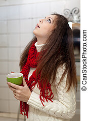 girl gargling throat in her bathroom - Illness girl gargling...