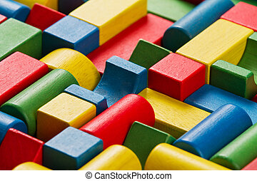 Toys blocks, multicolor wooden bricks, group of colorful building game pieces