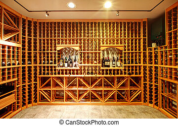 Home wine cellar design idea - Bright home wine cellar with...