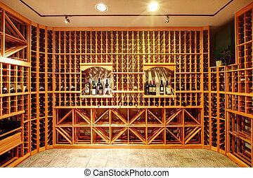Home wine cellar design idea - Bright home wine cellar with...