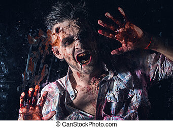 Scary zombie cosplay - Creepy zombie behind the window