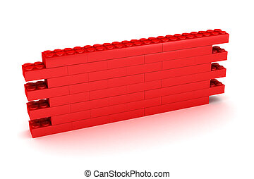 Building Block Wall - A Colourful 3d Rendered Illustration...