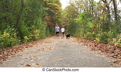 Couple walking their dog on trail.