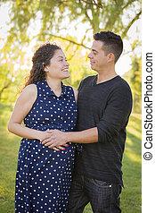 他的, 妻子, 怀孕, 公園,  hispanic, 在戶外, 人