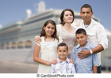 Young Happy Hispanic Family In Front of Cruise Ship - Young...