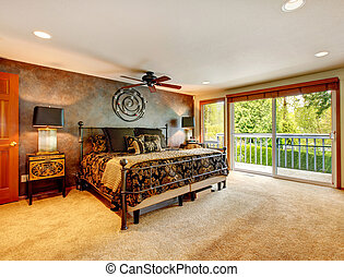 Elegant antique bedroom with walkout deck - Big bedroom with...