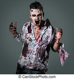 Scary zombie cosplay - Aggressive, creepy zombie in clothes