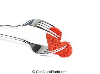 restaurant series, valentine day dinner on white background...