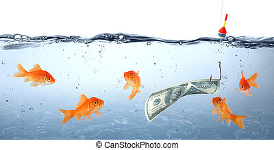 goldfish in danger - dollar as bait - concept deception