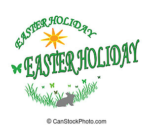 Easter Holiday - Stamp with text Easter Holiday inside,...