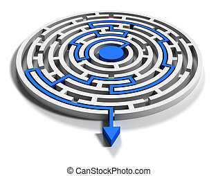 Round labyrinth with blue arrow out