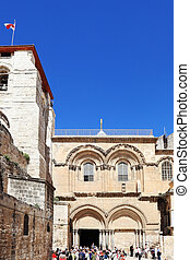 Church of the Holy Sepulchre in Jerusalem. The crowd of...