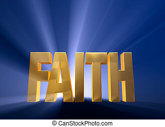 Dawning Faith - Bright, gold FAITH on a dark blue background...