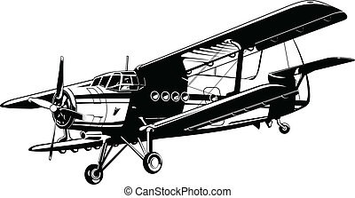 Byplane - Vector drawing of airplane Antonov An-2 Annushka,...