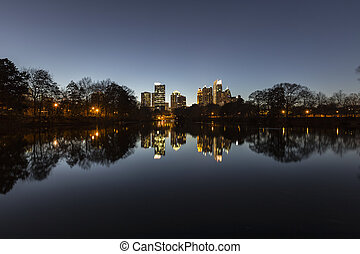 Atlanta Midtown Night - Midtown Atlanta night reflected in...