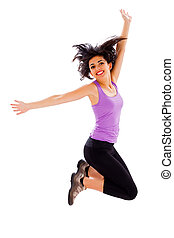 Love My Successful and Healthy Life - Young woman jumping...