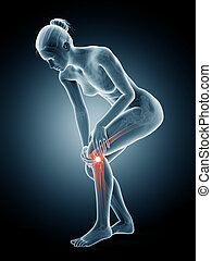 Woman having pain in the knee - medical 3d illustration -...