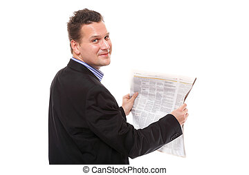 Businessman reading a newspaper isolated on white background