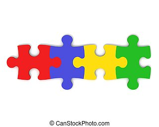 Colorful Jigsaw Pieces - digital render of jigsaw pieces in...