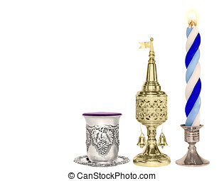 Havdalah set Silver wine cup, gold color spice box, braided...
