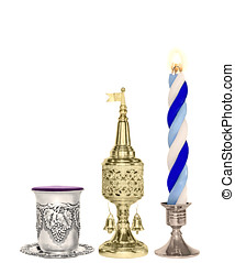 Havdalah set. Silver wine cup, gold color spice box, braided...