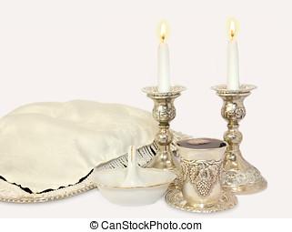 Jewish Sabbath objects for Friday night - Challah on silver...