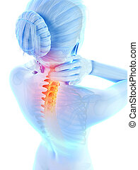 Woman having a painful neck - medical 3d illustration -...