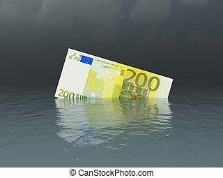 Sinking Euro Banknote