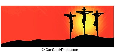 Crucifixion of christ - Three Crosses at Sunset -vector...