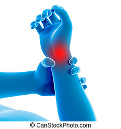 Man having a painful wrist - medical 3d illustration - man...