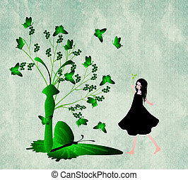 Tree with butterflies and girl