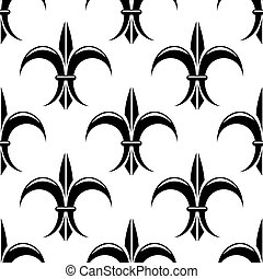 Black and white fleur de lys seamless pattern - Stylized...