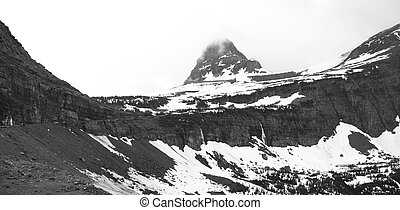 Logan pass in monochrome - Panoramic view of Logan pass in...