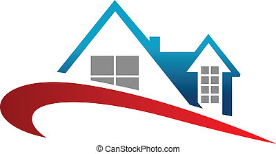 Real estate symbol - Home roof symbol with red wave for real...