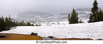 Winter in Glaciers - Panoramic view of Logan pass in Montana