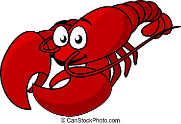 Cartoon red lobster mascot with long tail isolated on white,...
