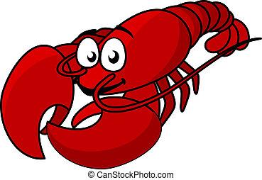 dessin animé, rouges, homard