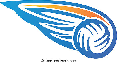 Volleyball ball with wings - Cartoon vector illustration on...