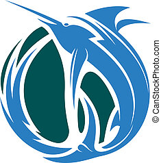 Marlin fishing icon - Cartoon vector illustration of a...