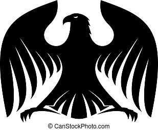 Stylized powerful black eagle silhouette with outspread...