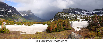 Stormy weather over Logan pass - Panoramic view of Logan...