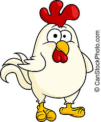 Funny fat little rooster or cock - Cartoon vector...