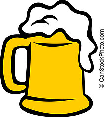 Tankard overflowing with frothy beer - Full tankard...