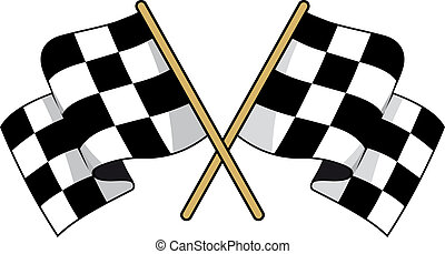Crossed black and white checkered flags with waving fabric...