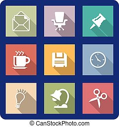 Office icons on coloured backgrounds - Office icons or...