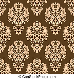 Repeat floral motifs on a brown background - Seamless...