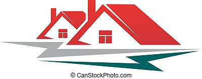 Two residential houses symbol