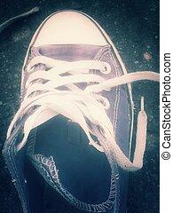 sports shoe laces - Old sports shoe laces