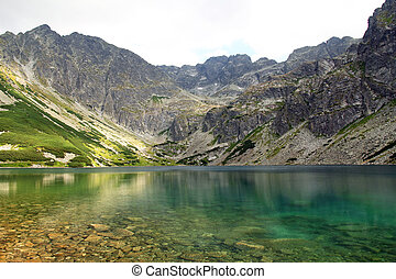 beautiful Black Pond Gasienicowy in Tatra Mountains, Poland